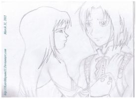 FFIX Zidane and Garnet Line art by 11KairiMayumi11