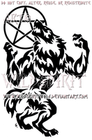 Tribal Werewolf And Pentacle Moon Design by WildSpiritWolf