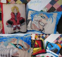 Ed Elric and Gimmjow - Hand Embroidered Pillow by Blargmuffins