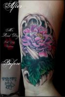 Peony Cover Up by Reddogtattoo