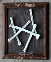 The Tarot of Bones: Five of Wands by lupagreenwolf