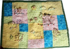 Embroidered and Quilted Wall Hanging by starrley