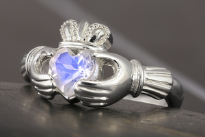 Moonstone claddagh ring in sterling silver by Vansee-Jewelry