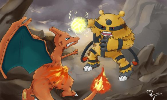 Charizard and Electavire by jewelpetgarnet
