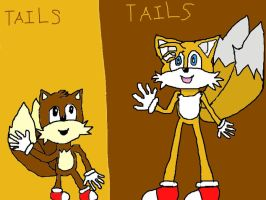 Now Tails and Classic Tails by HinataFox790