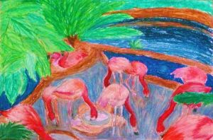 Flamingos- Oil Pastels by MousieDoodles