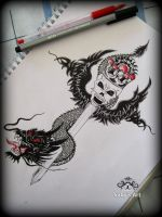 Skull and dragon with sword. by SabinaHaq