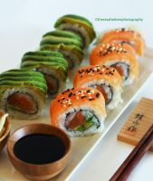 Homemade Tuna Avocado n Salmon Tuna Avocado Sushi by theresahelmer
