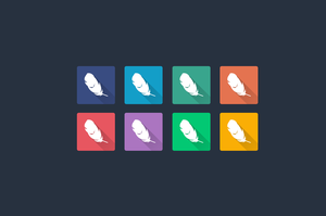 Flat Shadow Photoshop Feather Icon Multiple Colors by flat-icons