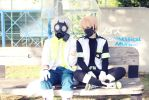 Gas mask guy and some trash by silkybean