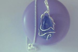 Blue chalcedoine mineral pendant by Ming-Shuw
