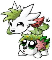 Shaymin Chibis by RedPawDesigns