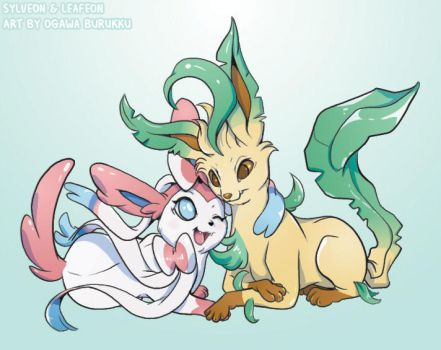 Pokemon Drawz Day 1: Sylveon and Leafeon by OgawaBurukku