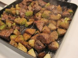 Grilling Lamb and Chayote Squash 3 by Windthin