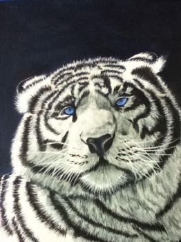 White Tiger Oil Painting by PurpleInsperation7