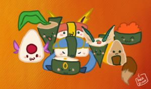 Eevee Family Sushi by Bean-Sprouts