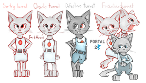 Portal 2 characters as cats [3] by Sitnich