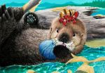 Oki the baby sea otter by Psithyrus