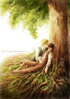 Two hobbits under the tree by KarlaFrazetty