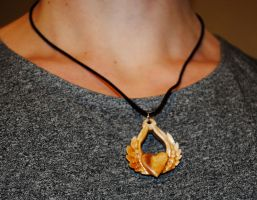 Wooden pendant love with wings by JOVictory