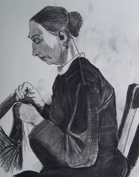 van Gogh study:  Woman Sewing by CynicalSaint