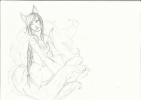 Ahri Sketch by Neko-pinku