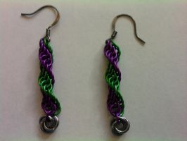 Spiral Earrings w_Mobius Ball by Silkyprime