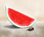 Watermelon and a Beetle by YankoPopov