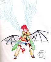 Dragon Girl's Fighting Pose by Yueni