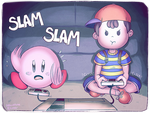 Ness and Kirby Playing Games by Skeletunez