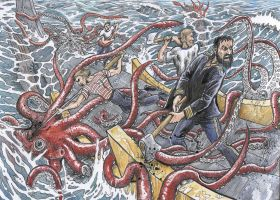 20,000 Leagues under the sea - squid attack by Snake-Artist