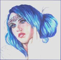 Blue haired beauty..watercolour by xxaihxx