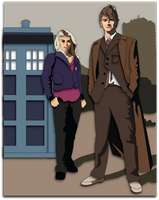 Shadowbox Mock-up:  10th Doctor and Rose by The-Paper-Pony