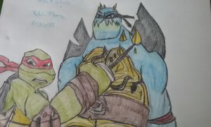 TMNT Raph and Slash Drawing by NinjaTurtleFangirl