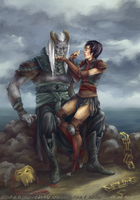 Dragon age2: Qunari and Hawke by sparrow-chan