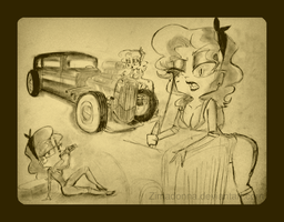 Vintage Hot Rod Sketches by AnnaKlava