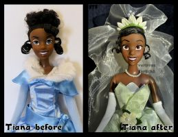 repainted ooak princess tiana doll. - close up. by verirrtesIrrlicht