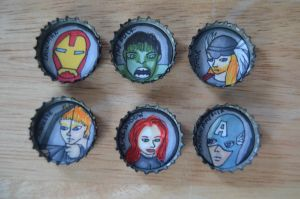 Avengers Bottle Caps by FlyingPhoenixFire