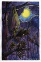 Sleeping under the moon by RubyFeather