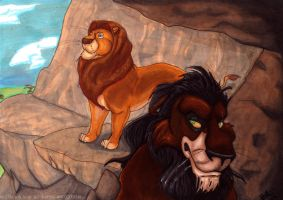 Shady side - Scar and Mufasa by Bitter-Bitter