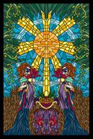4 of Fans - Masque Tarot by blue-fusion