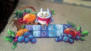 Joyeux Noel Chalk Art by charfade