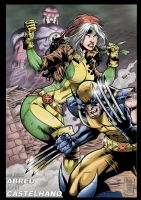 Sentinel, Rogue and Wolverine by johncastelhano