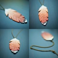 Red Tailed Hawk Feather Leather Necklace by kiyone
