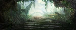 Abandoned Stairway by Concept-Art-House