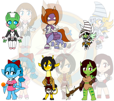 Assorted Chibis - AU Heroes and Beasts by Dragon-FangX