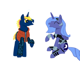 Thunderbolt and Luna halloween by Celrahk