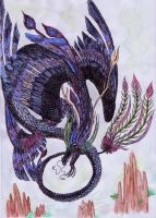 Four-winged dragon by kxeron