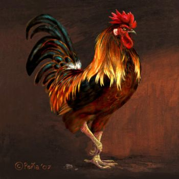 Rooster painting 2 by Reptangle