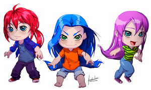 Chibi commission  Rayne, Tich and Adria by fradarlin